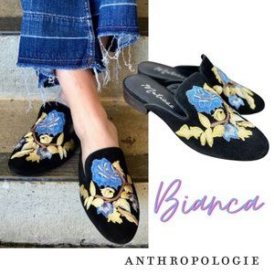 Anthro Matisse Bianca Embroidered Suede Mules